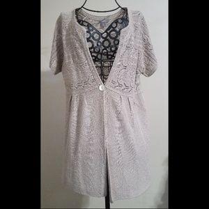J Jill Knit Short Sleeve Cardigan Linen Blend